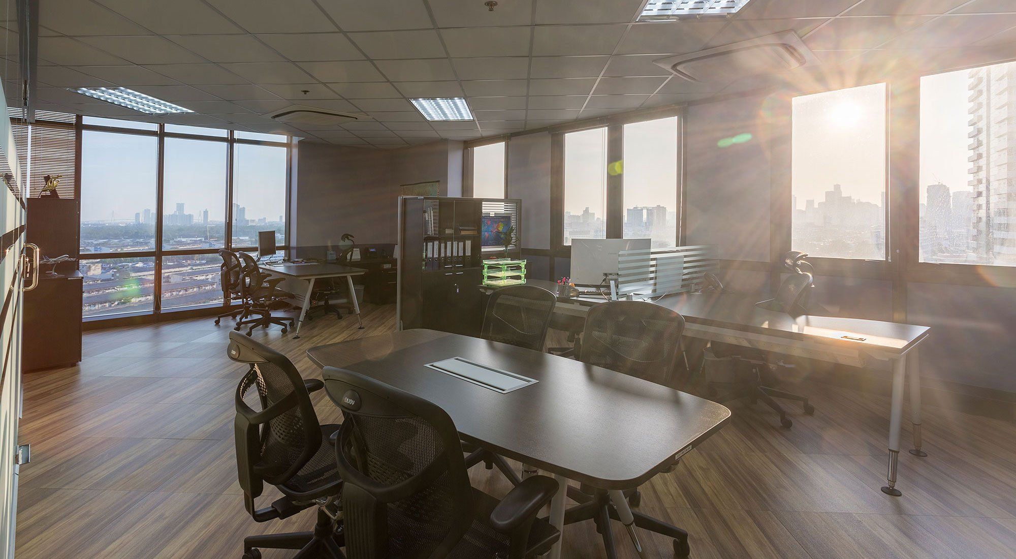 A office of 60sqm during sunset