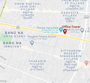 Bangna Office on a map of Bangkok with a pinpoint at Office Tower