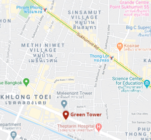 Map of Green Tower in Bankok on Rama 4 road
